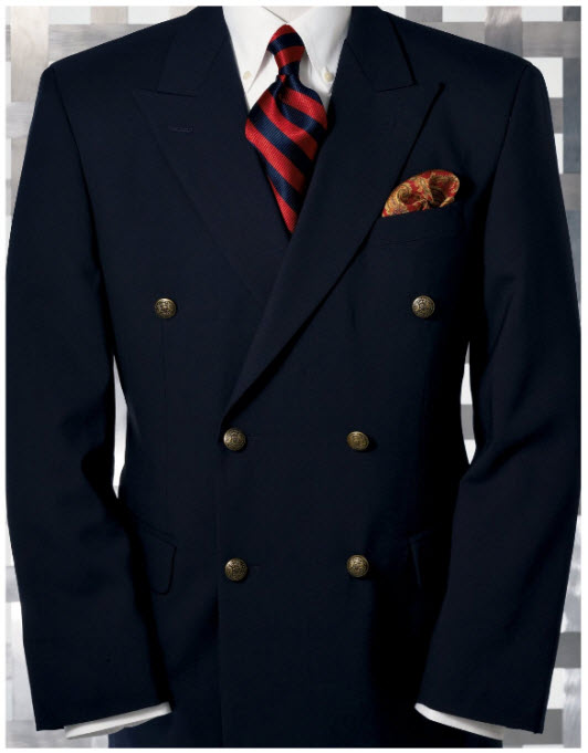Navy Double Breasted Blazer To complete the look of a pantsuit or to dress up an otherwise casual look, simply don a navy blazer! Blazers are available in a wide variety of cuts, styles, fabrics and sizes.